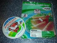【写真中】6Pチーズは220CFP、ハムは特大サイズ2枚入りで280CFPとお得です!!
