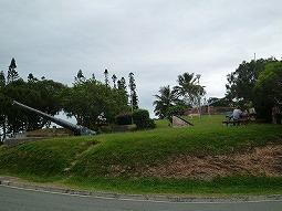 【写真左】この小高い丘のてっぺんまで登ります